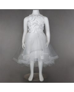 DRESS WHITE TULLE SILVER & WHITE APPLIQUES HALTER TOP