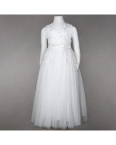 DRESS WHITE PEARL FLORAL VINE TULLE