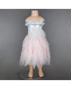 DRESS BLUSH PINK FEATHERS & RSTONE TRIM PETAL TULLE SKIRT