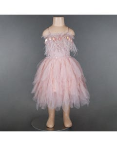 DRESS DUSTY PINK FEATHERS & SEQUIN APPLIQUE PETAL TRIM SKIRT