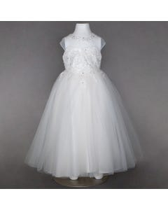 DRESS WHITE PEARL VINE LACE TULLE TIEBACK