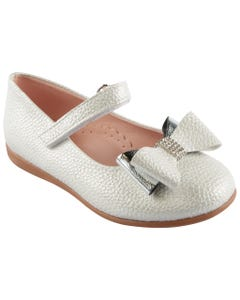 SHOES SILVER DOUBLE BOW TRIM VELCRO STRAP