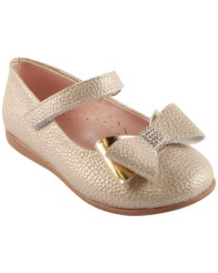 SHOE GOLD DOUBLE BOW TRIM VELCRO STRAP