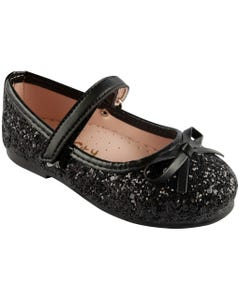 SHOE BLACK SPARKLE BOW VELCRO STRAP