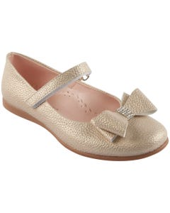 SHOE GOLD SHIMMER BOW RSTONE TRIM
