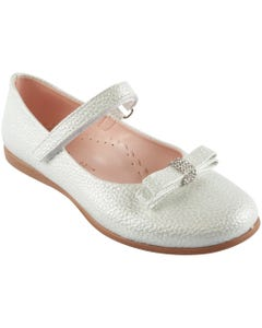 SHOE SILVER SHIMMER SMALL BOW RSTONE TRIM