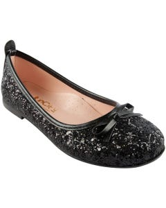 SHOE BLACK SPARKLE BOW TRIM SLIP ON