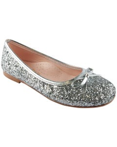 SHOE SILVER SPARKLE BOW TRIM SLIP ON