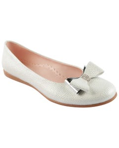 SHOE SILVER SHIMMER SLIP ON DOUBLE BOW RSTONE TRIM
