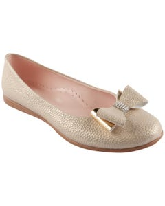 SHOE GOLD SHIMMER SLIP ON DOUBLE BOW RSTONE TRIM