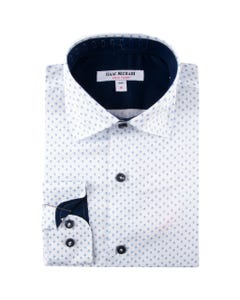 SHIRT BLUE DIAMOND PRINT NAVY CONTRAST