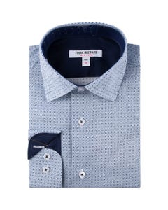 SHIRT BLUE GRAY CIRCLE PRINT