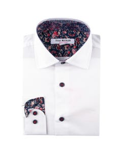 SHIRT WHITE FLORAL CONTRAST PRINT