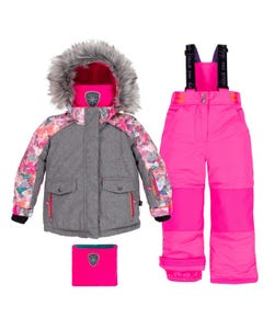 GREY & PINK SNOWSUIT