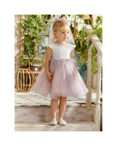 DRESS & HRPC CREAM & PINK TULLE FEATHER TRIM