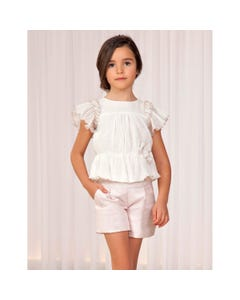 2 PC SHORT & BLOUSE ROSE JACQUARD & WHITE CHIFFON