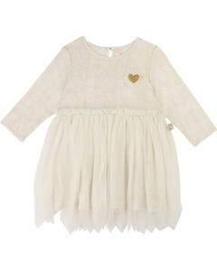 DRESS CREAM TULLE LAYER LIGHT GOLD HEART TRIM