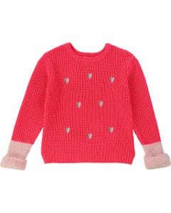 PULLOVER FUSCHIA EMBROIDED HEARTS PINK FUR CUFF