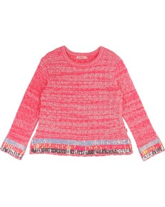 PULLOVER FUSCHIA& WHITE KNIT SEQUIN CUFF & HEM