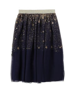 SKIRT NAVY TULLE WITH GOLD BUGLE BEADS