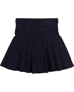 SKIRT NAVY SPARKLE IMITATION PLEATS