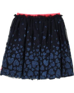 SKIRT NAVY TULLE BLUE HEARTS PRINT PINK WAISTBAND