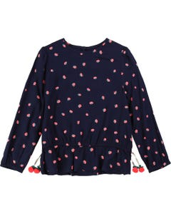 BLOUSE NAVY LONG SLEEVE PINK BERRIES PRINT