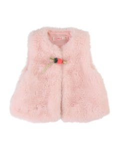 FUR VEST LIGHT PINK 1 BUTTON CLOSURE