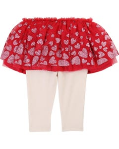 SKIRT & LEGGING RED TULLE CREAM KNIT HEART PRINT
