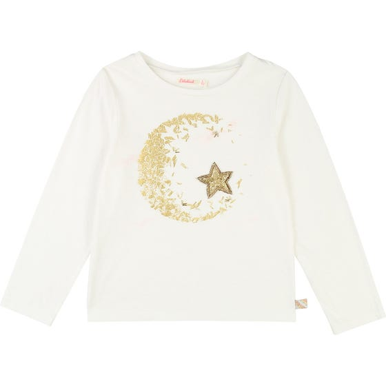 TSHIRT WHITE  LONG SLEEVE GOLD BUGLE BEAD STAR