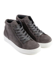 SHOE HIGH CUT GREY LEATHER LACES