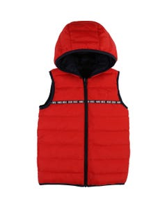 PUFFER VEST RED HOODED DOWN FILLED REVERSIBLE