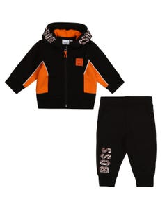 Hugo Boss Boys 2 Pc Track Suit Black Hooded Orange Trim Size 12m-3 | 2 Piece Sets For Babies 5823 4380 Black