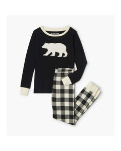 CHRISTMAS 2PC PYJAMA BLACK & CHECK PANTS BEAR APPLIQUE