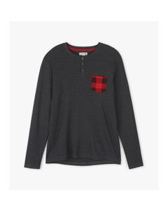 CHRISTMAS HENLEY TOP BLACK WAFFLE RED PLAID POCKET