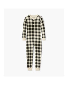CHRISTMAS 1PC SLEEPER WHITE & BLACK PLAID UNION SUIT