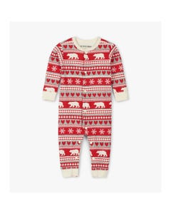 CHRISTMAS 1PC SLEEPER RED WHITE BEAR STRIPE PRINT UNION SUIT