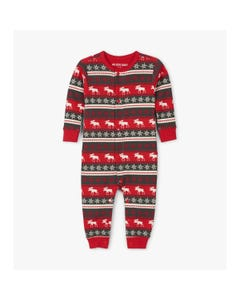 CHRISTMAS SLEEPER RED MOOSE PRINT & SNOWFLAKES