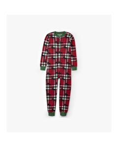 CHRISTMAS SLEEPER RED PLAID MOOSE PRINT UNION SUIT