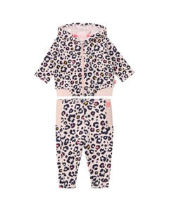 2PC TRACKSUIT PINK BLACK PAW PRINT HOODED ZIP CLOSURE