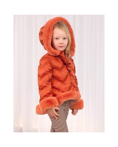 JACKET ORANGE FUR LINING HOODED REMOVABLE