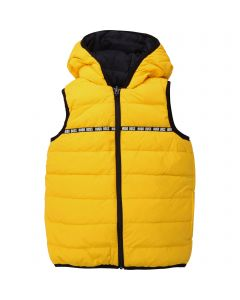 HUGO BOSS VEST YELLOW & BLACK HOODED DOWN FILLED REVERSIBLE Sizes 4-16 | J26383 YELLOW