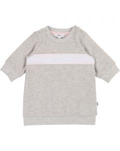 HUGO BOSS DRESS LIGHT GREY WHITE EMBRODIED BOSS LOGO LONG SLEEVE Sizes 3m-18m | J92040 GREY