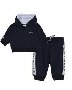 HUGO BOSS 2PC.TRACK SUIT NAVY HOODED CARDIGAN WHITE LOGO ZIP CLOSURE Sizes 3m-18m | J95271&J94235 NAVY