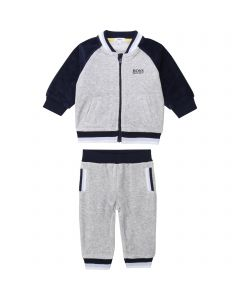 HUGO BOSS 2PC.TRACKSUIT GREY & NAVY VELOUR ZIP CLOSURE Sizes 3m-18m | J98257 GREY