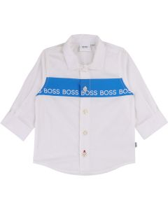 Hugo Boss Boys Long Sleeve Logo Shirt Size 9M-3 | J05726 White
