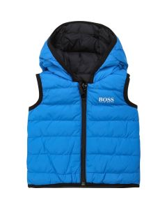 Hugo Boss Boys Reversible Down Filled Vest Size 2-3 | J06198 Blue