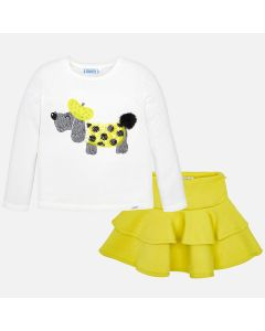 Mayoral Girls 2Pc Flare Top And Skirt Size 2-6 | 4950 Yellow
