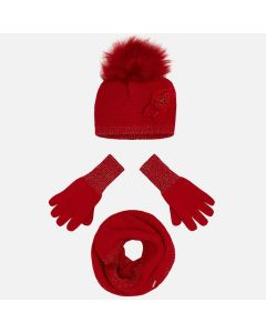 Mayoral Girls 3Pc Hat And Glove Set Size 4-10 | 10699 028 Red