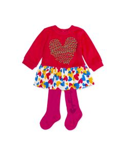 Agatha Ruiz de la Prada Girls 2Pc Dress And Tights Size 3m-24m | 8492W19 R01 Coral